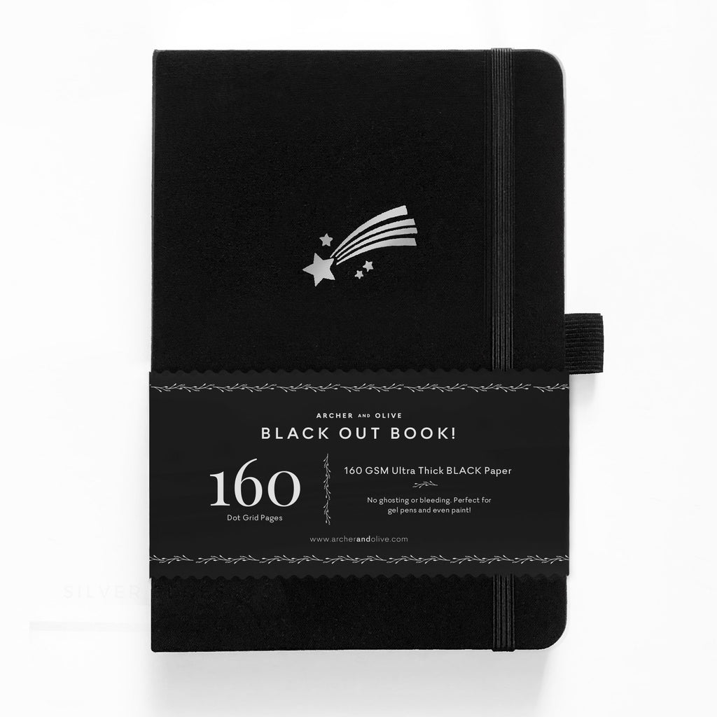 Archer & Olive Shooting Star - A5 BLACKOUT Book - dotted black pages - Paper Kooka