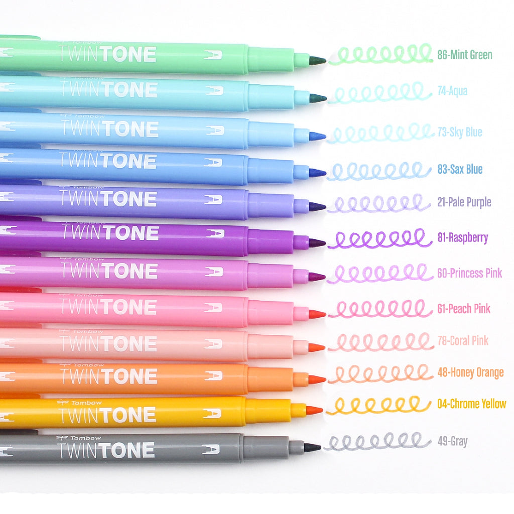 Tombow TwinTone Dual-Tip Markers - 12 Colour Pastel Set - Have a Point