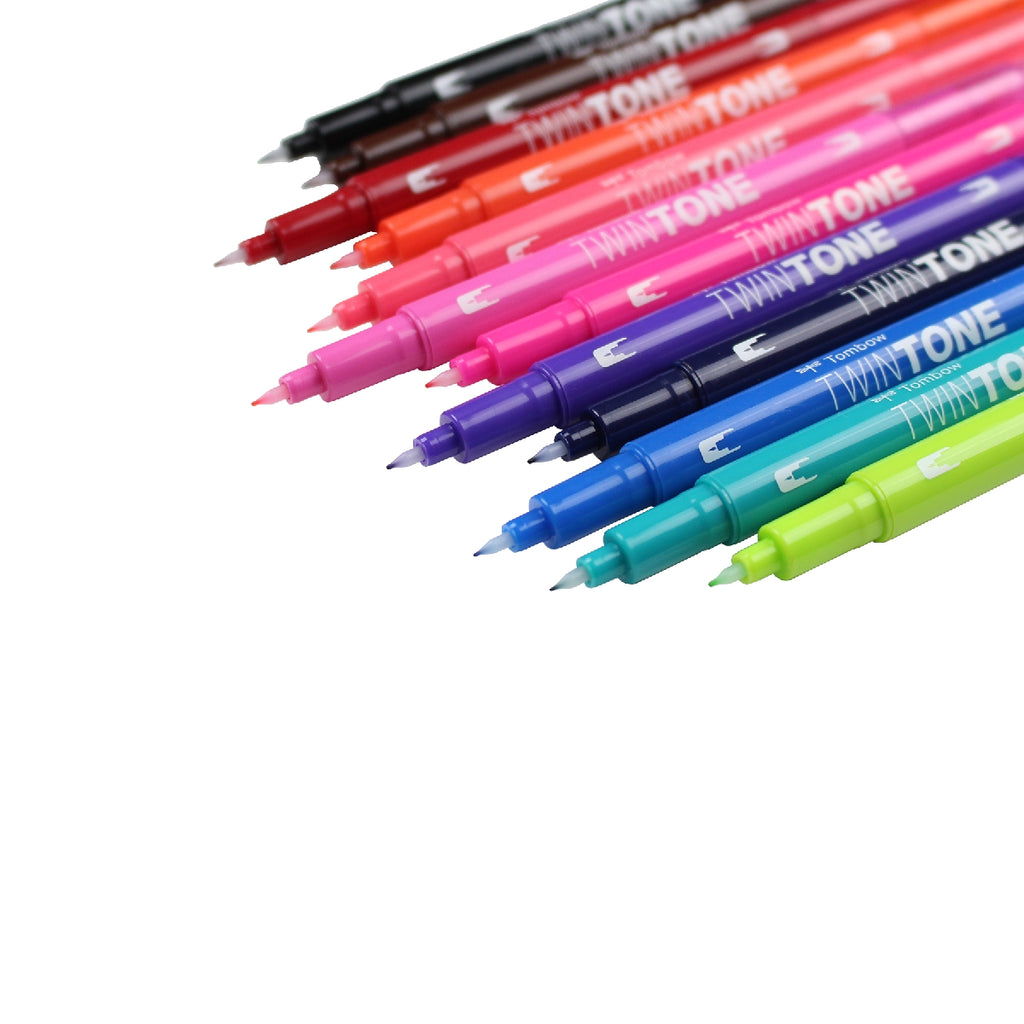 TwinTone Dual-Tip Markers - 12 Colour Brights Set - Paper Kooka