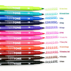 TwinTone Dual-Tip Markers - 12 Colour Brights Set