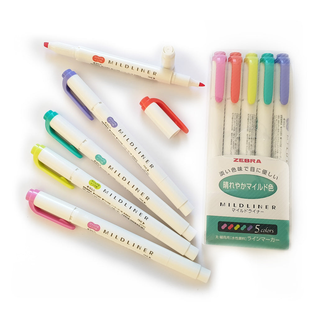 Mildliner Dual-tip - GREEN  Set of 5 - Paper Kooka