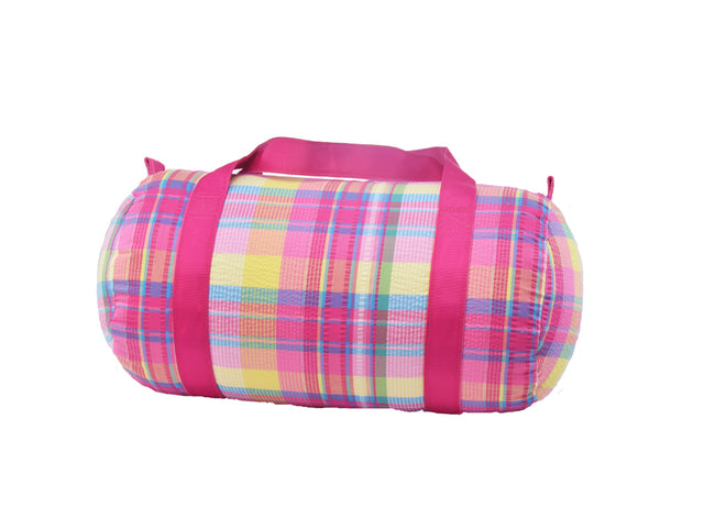 Seersucker Duffel Bag - Plaid - Pistachios Monogram Embroidery