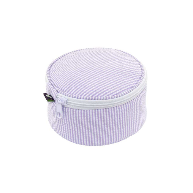 Seersucker Button Bag/Jewelry Round - Lilac - Pistachios Monograms and Gifts