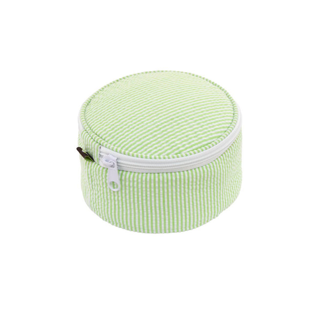 Seersucker Button Bag/Jewelry Round - Lime - Pistachios Monogram Embroidery