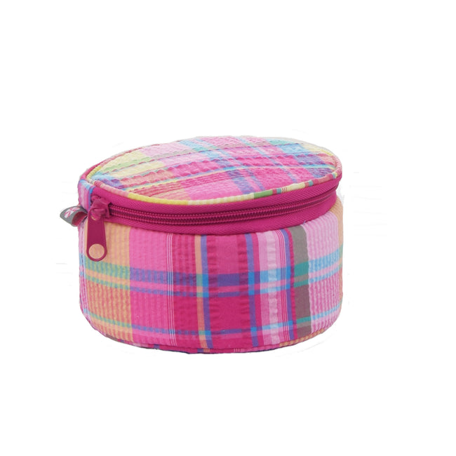 Seersucker Button Bag/Jewelry Round - Plaid - Pistachios Monograms and Gifts
