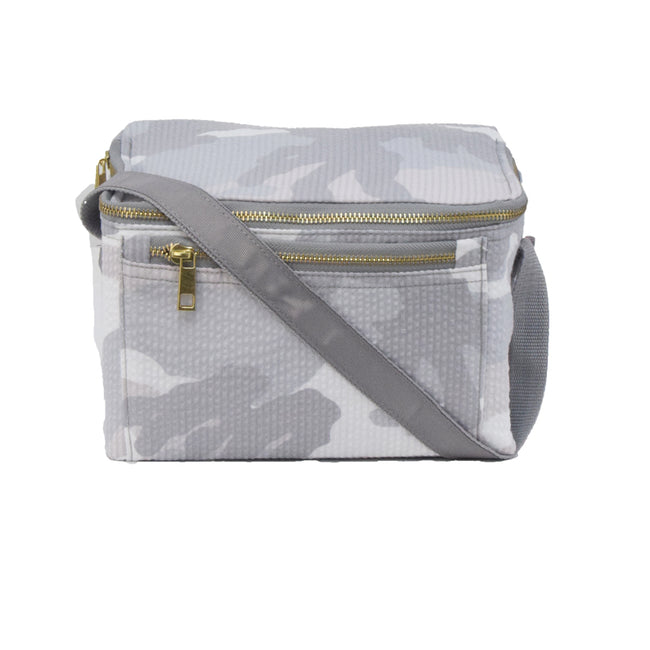 Seersucker Lunch Box - Camo - Pistachios Monogram Embroidery