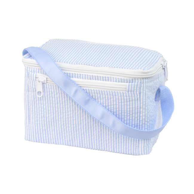 Seersucker Lunch Box - Baby Blue - Pistachios Monograms and Gifts