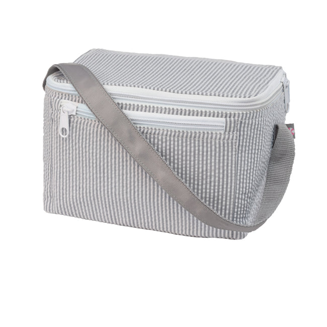 Seersucker Lunch Box - Grey - Pistachios Monogram Embroidery