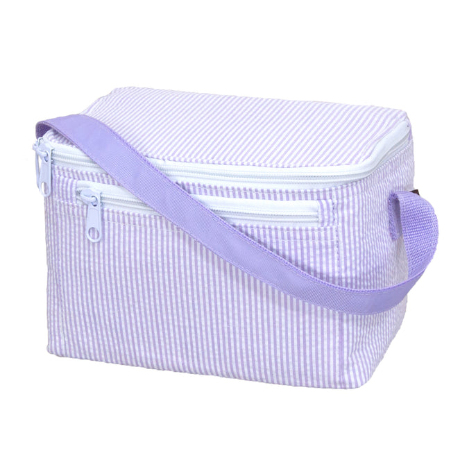 Seersucker Lunch Box - Lilac - Pistachios Monogram Embroidery