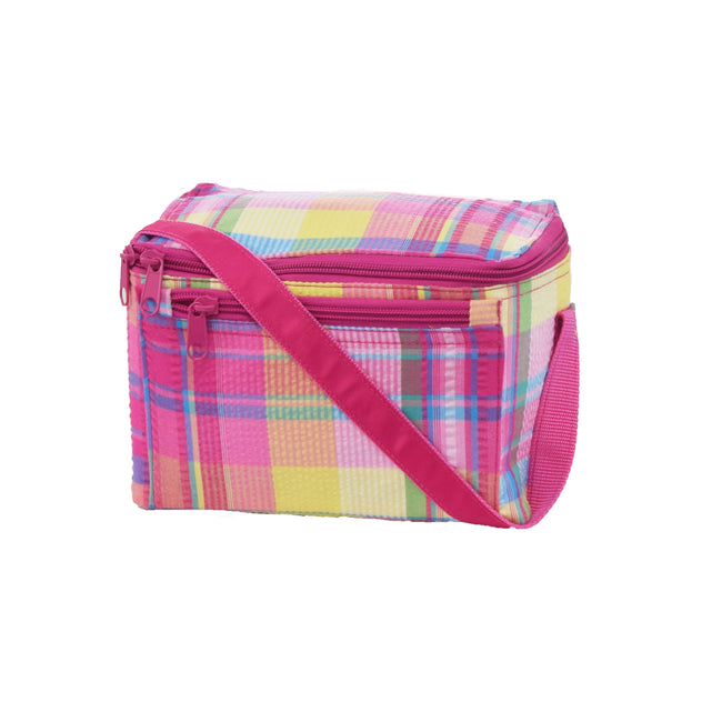 Seersucker Lunch Box - Plaid - Pistachios Monogram Embroidery