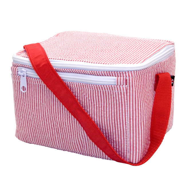 Seersucker Lunch Box - Red - Pistachios Monograms and Gifts