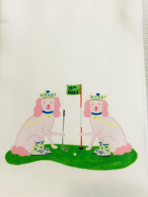 Ellen and Jay Golf Kitchen / Tea Towel by Willa Heart - Pistachios Monogram Embroidery