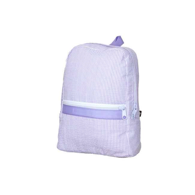 Seersucker Backpack -  Lilac Small - Pistachios Monogram Embroidery