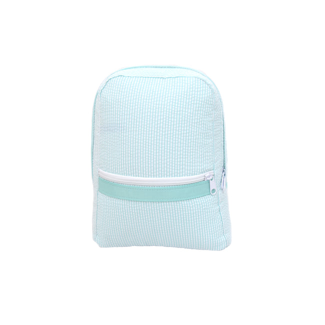 Seersucker Backpack -  Mint   Small - Pistachios Monograms and Gifts