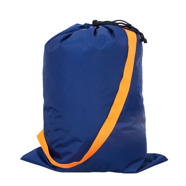 Catch All Bag - Overnight Bag - Laundry Bag in Navy/Orange - Pistachios Monogram Embroidery