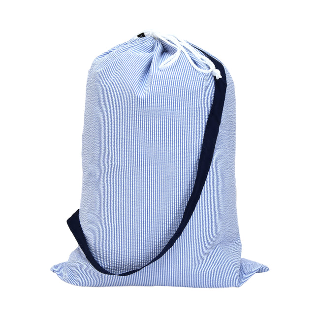 Catch All Bag - Overnight Bag - Laundry Bag in Navy Seersucker - Pistachios Monogram Embroidery