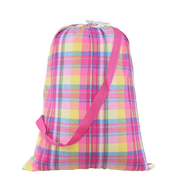 Catch All Bag - Overnight Bag - Laundry Bag in Popsicle Plaid - Pistachios Monogram Embroidery