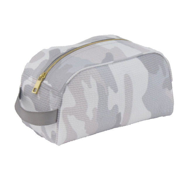 Seersucker Traveler/Dopp Kit/Diaper Caddy - Camo - Pistachios Monogram Embroidery