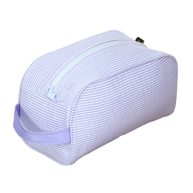 Seersucker Traveler/Dopp Kit/Diaper Caddy - Lilac - Pistachios Monograms and Gifts