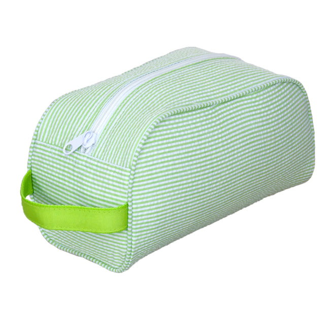 Seersucker Traveler/Dopp Kit/Diaper Caddy - Lime - Pistachios Monogram Embroidery