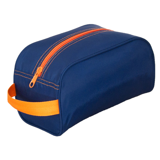 Traveler/Dopp Kit/Diaper Caddy - Navy with Orange Trim - Pistachios Monogram Embroidery