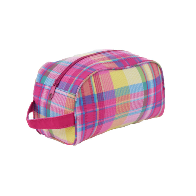 Seersucker Traveler/Dopp Kit/Diaper Caddy - Popsicle Plaid - Pistachios Monogram Embroidery
