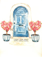 Love Lives Here - Blue Door with Heart Topiaries  Tea / Dish Towel