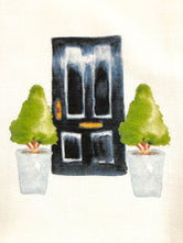 Dark Blue Door with Trees / Topiaries  Tea / Dish Towel