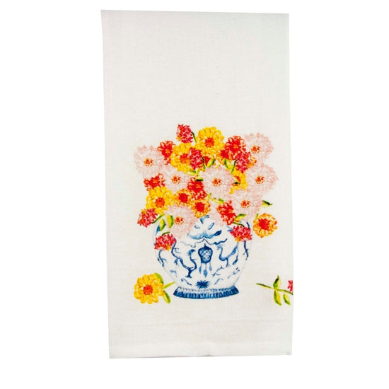 Ginger Jar with Zinnias Tea / Dish Towel