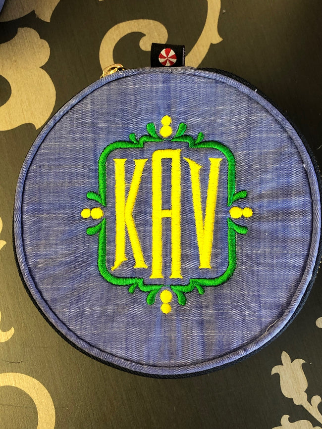 Button Bag/Jewelry Round - Chambray - Pistachios Monogram Embroidery