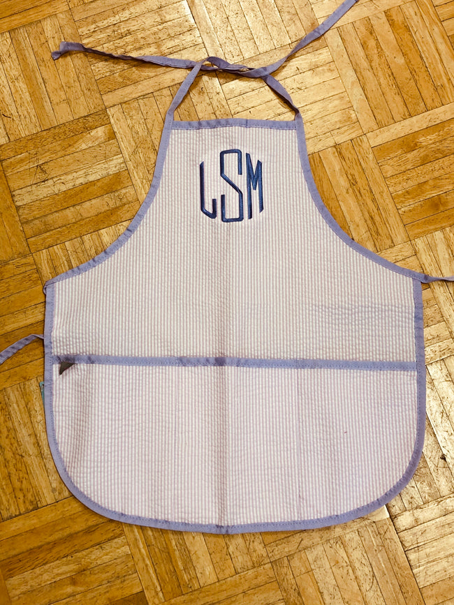 Seersucker Apron/Art Smock - Pink with Lavender Trim - Pistachios Monograms and Gifts