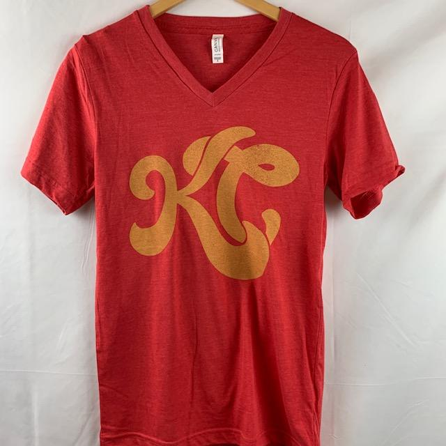 KC Groovy Red V-neck T-Shirt