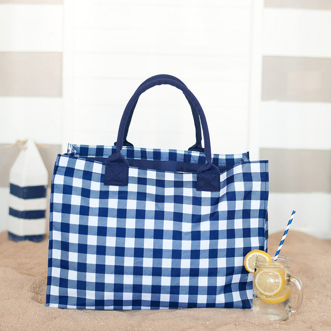 Tote - Navy Check - Pistachios Monogram Embroidery