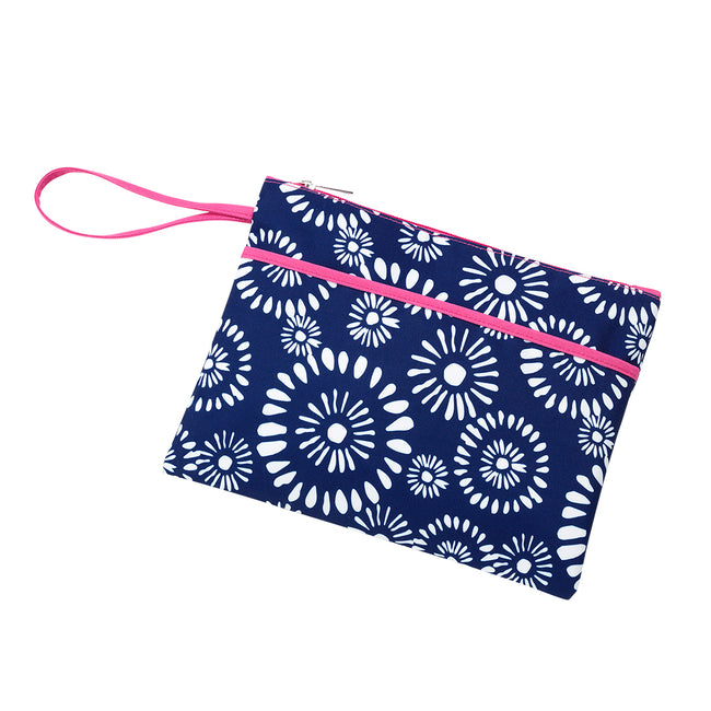Wristlet - Riley - Navy and White with Hot Pink Trim - Pistachios Monogram Embroidery