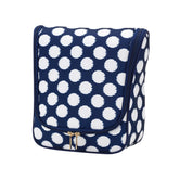 Hanging Travel Case/Cosmetic/Dopp Kit - Navy with White Polka Dots