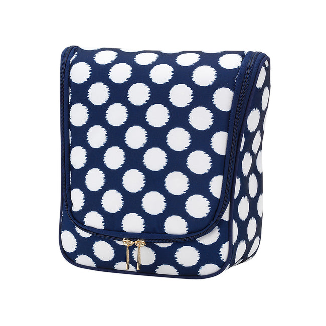 Hanging Travel Case/Cosmetic/Dopp Kit - Navy with White Polka Dots - Pistachios Monogram Embroidery