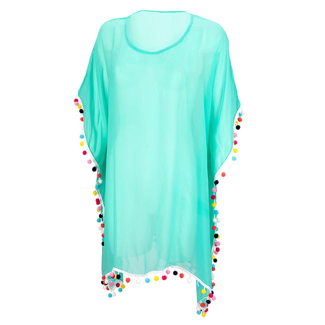 Swim Cover Up - Pom Pom - Mint - Pistachios Monograms and Gifts