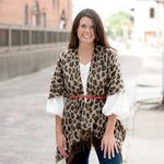 Leopard Kennedy Shawl - Pistachios Monogram Embroidery
