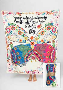 Your Wings Already Exist All You have to do is Fly - Tapestry Blanket - Pistachios Monogram Embroidery