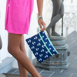 Wristlet - Anchor - Navy with white - Pistachios Monogram Embroidery