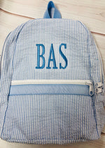 Seersucker Backpack - Baby Blue   Small - Pistachios Monogram Embroidery