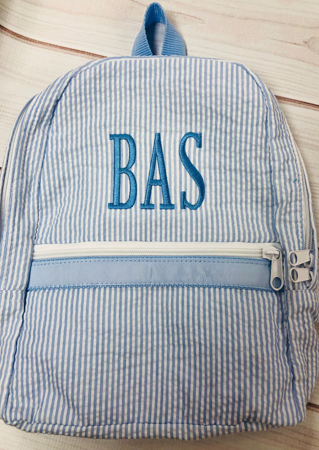 Seersucker Backpack - Baby Blue   Small - Pistachios Monograms and Gifts