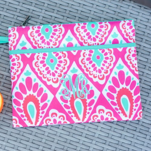 Wristlet - Beachy - Hot Pink with white and mint - Pistachios Monogram Embroidery