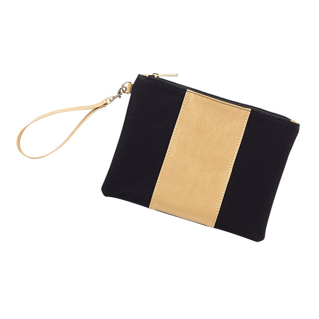 Cabana Wristlet - Black and Gold - Pistachios Monogram Embroidery