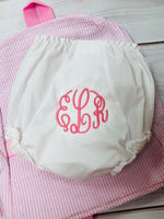Bloomer / Diaper Cover - Pistachios Monogram Embroidery