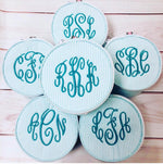 Seersucker Button Bag/Jewelry Round - Mint - Pistachios Monogram Embroidery