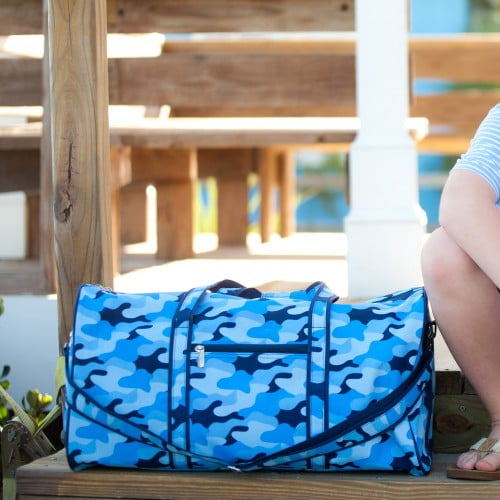 Duffel Bag - Blue Camo - Pistachios Monogram Embroidery