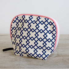 Madison Cosmetic Bag in Navy/Punch - Pistachios Monogram Embroidery