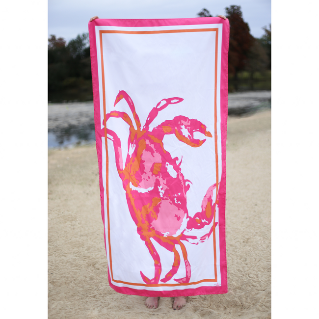 Crab Beach Towel - Pistachios Monogram Embroidery