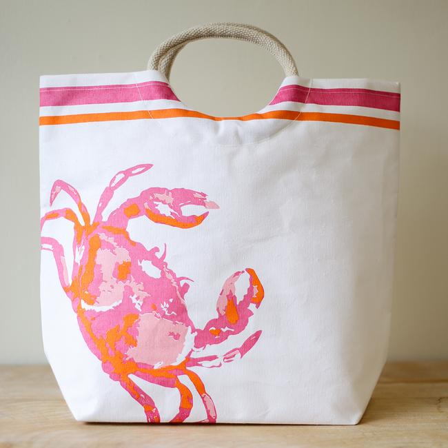 Crab Shore Tote - Pistachios Monogram Embroidery